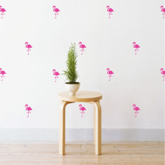 Mini flamingo pattern wall stickers (various colours)