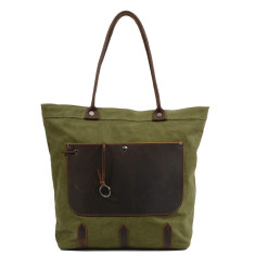 Green Canvas Tote/Shopping Bag With Leather Front Pocket