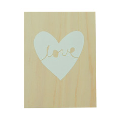 Love in heart plywood screenprint