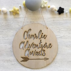 Personalised adventure awaits - Tribal wood wall plaque