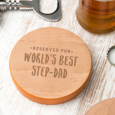 Worlds Best Step Dad Coloured Edge Coaster