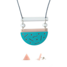 Confetti necklace and earring gift set - aqua, blush, glitter