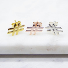 Hashtag Stud Earrings (silver/gold/rosegold)