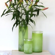 Sensational glass vases in lime green