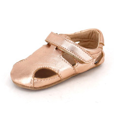 Pre-walker leather Sunday sandals in rose gold