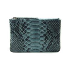 Python leather zipper purse in grey motif