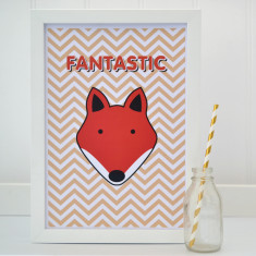 Childrens Fox Chevron Print