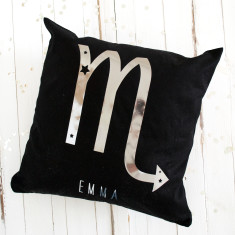 Personalised Metallic Birthday Starsign Cushion