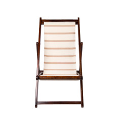 Beige and white deck chair