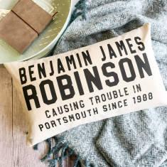 Personalised Birthday Monochrome Boudoir Cushion