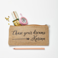 Personalised Dreams Jute Pencil Case