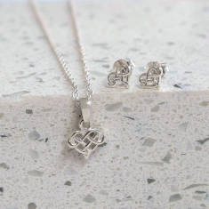 Sterling Silver Heart Infinity Set