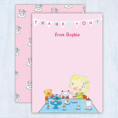 Personalised girl's tea party thank you cards (set of 8)