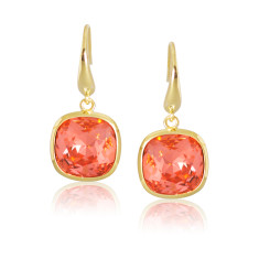 Padparadcha & Yellow Gold Vermeil Cushion Drop Earrings