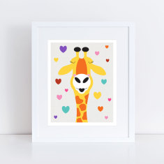 Giraffe kisses nursery art print