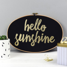 Hello Sunshine Embroidery Hoop Artwork