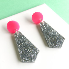 Jazzy drop earrings - silver glitter and hot pink