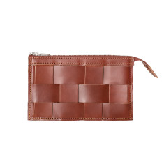 Leather Naver wallet in Brick