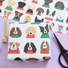 Christmas Jumper Dog Wrapping Paper (Two Sheets)
