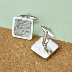Map personalised sterling silver square cufflinks