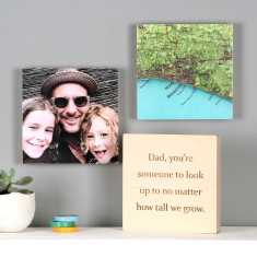 Personalised Map & Photo Wall Art Blocks For Him