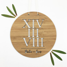 Roman numerals lovers personalised bamboo wall hanging