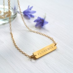 Personalised Gold Little Name Bar Necklace