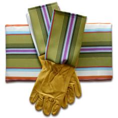 Gardener's kneeling pad & gloves in men's wheatgrass stripe