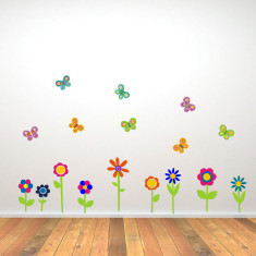 Flower and Butterfly Wall Stickers