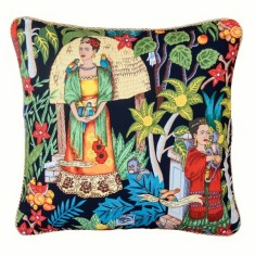 Frida's garden black cushion (Various Sizes)