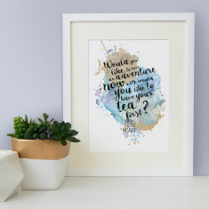 Peter Pan would you like to have an adventure now quote watercolour print