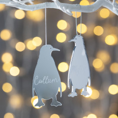 Personalised Silver Mirrored Penguin Decoration