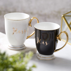 His And Hers Monochrome China Mugs