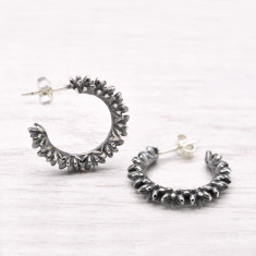 Botany Hoop Earrings in Sterling Silver