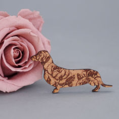 Wooden rose dachshund brooch