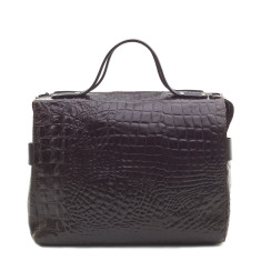 Bridget bowler bag choc croc print leather
