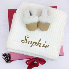 Personalised Lambswool and Sheepskin Babies Gift Set
