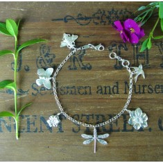 Saffron sterling silver multicharm bracelet