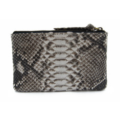 Python leather zipper purse in natural motif