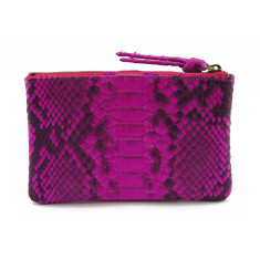 Python leather zipper purse in pink motif