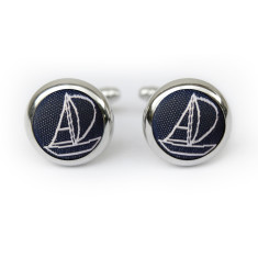 Sailing cufflinks in navy & white