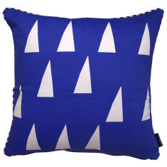 Triangles cushion cover in marine blue