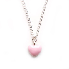 Chain necklace with pink heart
