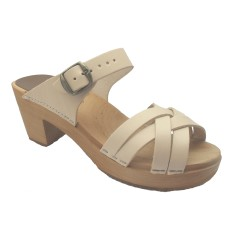 High sandals in natural