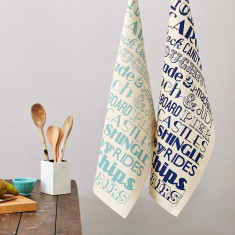 Sand castles and carousels tea towel