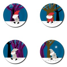 Santa coasters (set of 4)