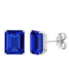 Sapphire sterling silver stud earrings