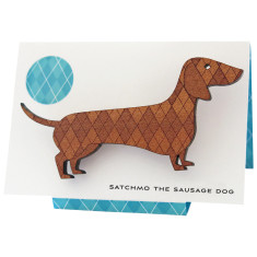 Satchmo the sausage dog engraved wooden brooch