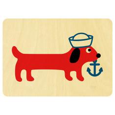 Sausage dog wooden postcard