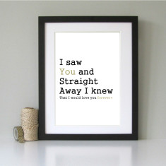 I saw you and I knew... romantic art print
